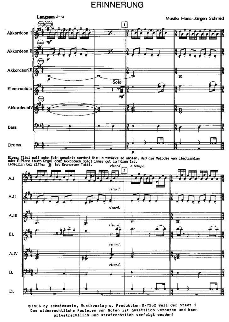 Erinnerung - schmidmusic Musikverlag e.K.